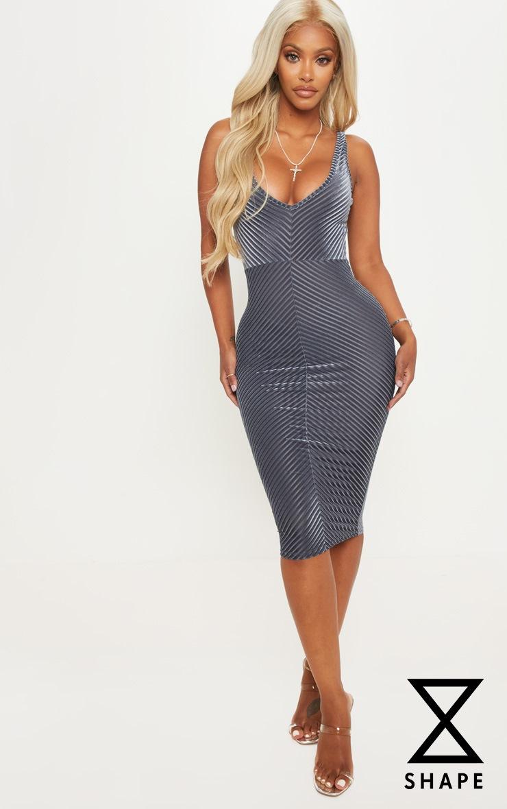 Shape Grey Velvet Scoop Back Bodycon Dress