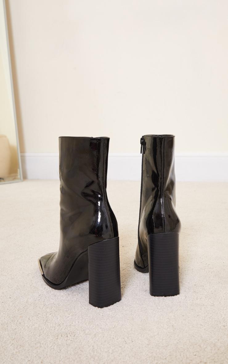 Black PU Metal Toe High Block Heels Ankle Boots 4