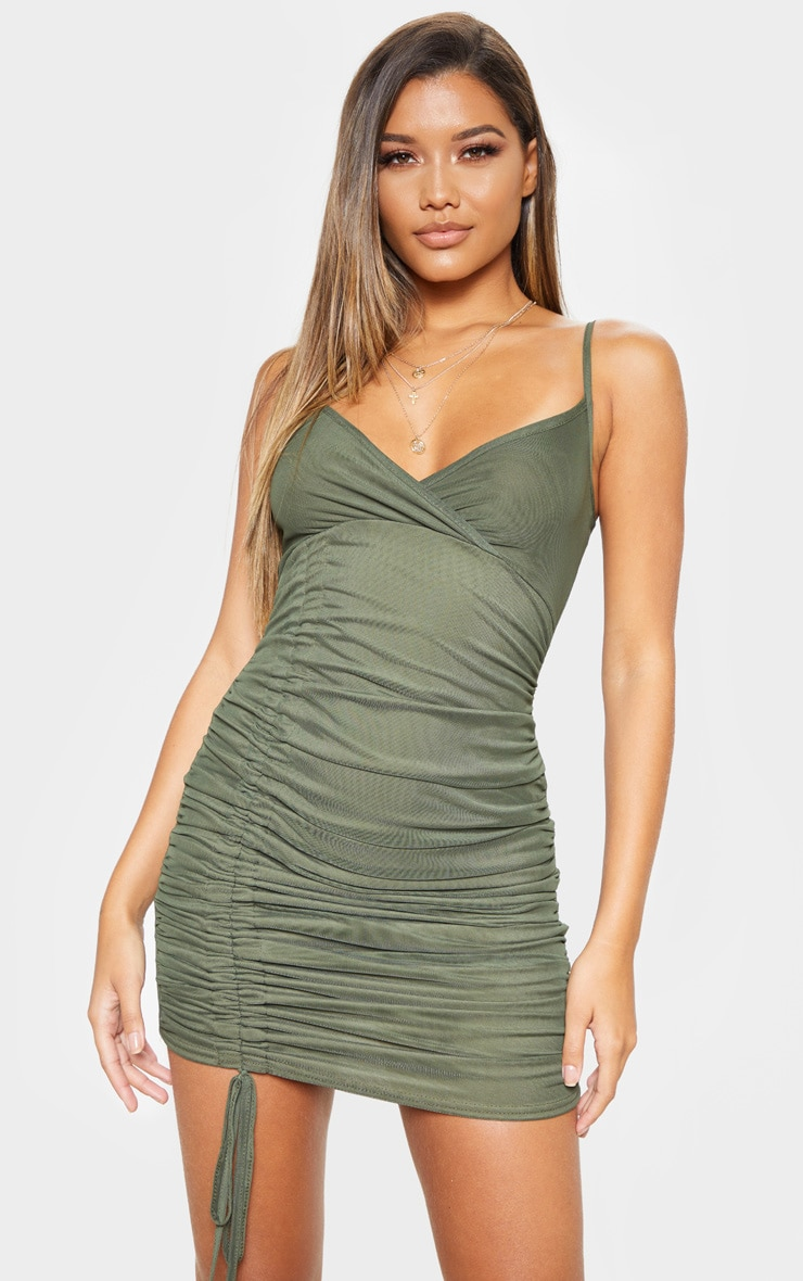 4952b530450 Khaki Strappy Mesh Ruched Side Bodycon Dress image 1