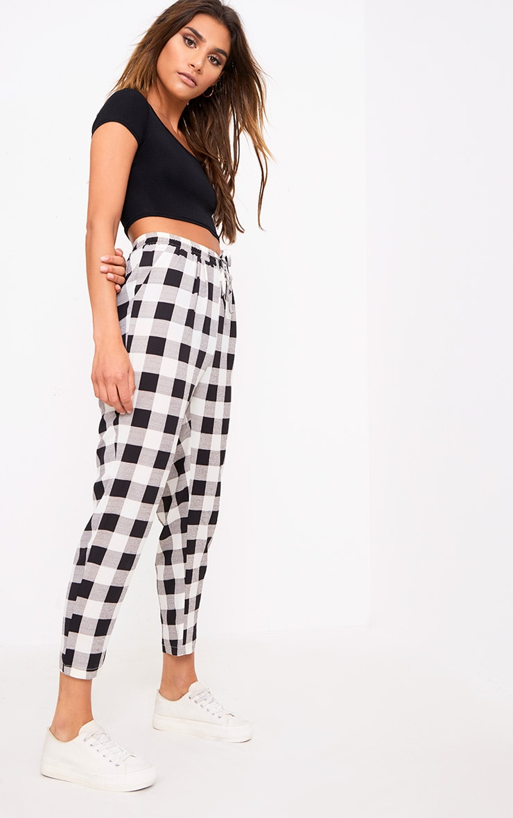 Black Check Casual Trousers 1