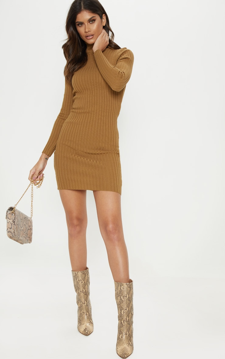 Camel Ribbed Knitted Roll Neck Dress  4