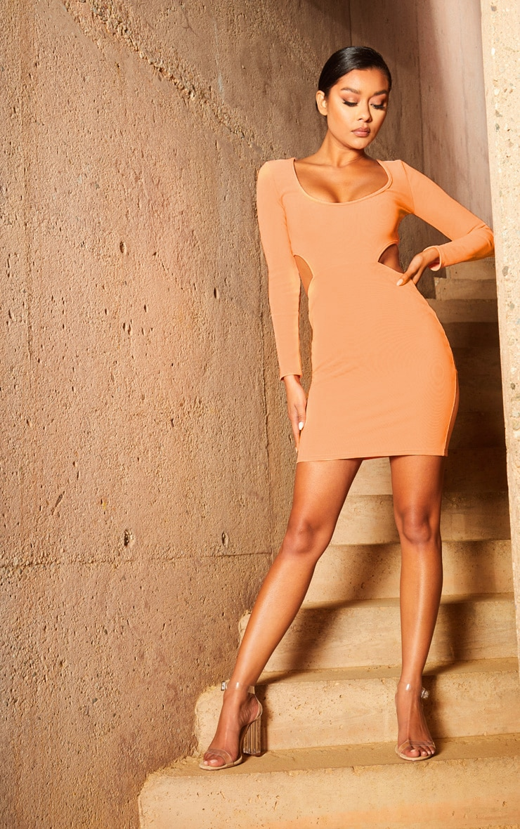 Peach Second Skin Scoop Neck Cut Out Side Bodycon Dress 4