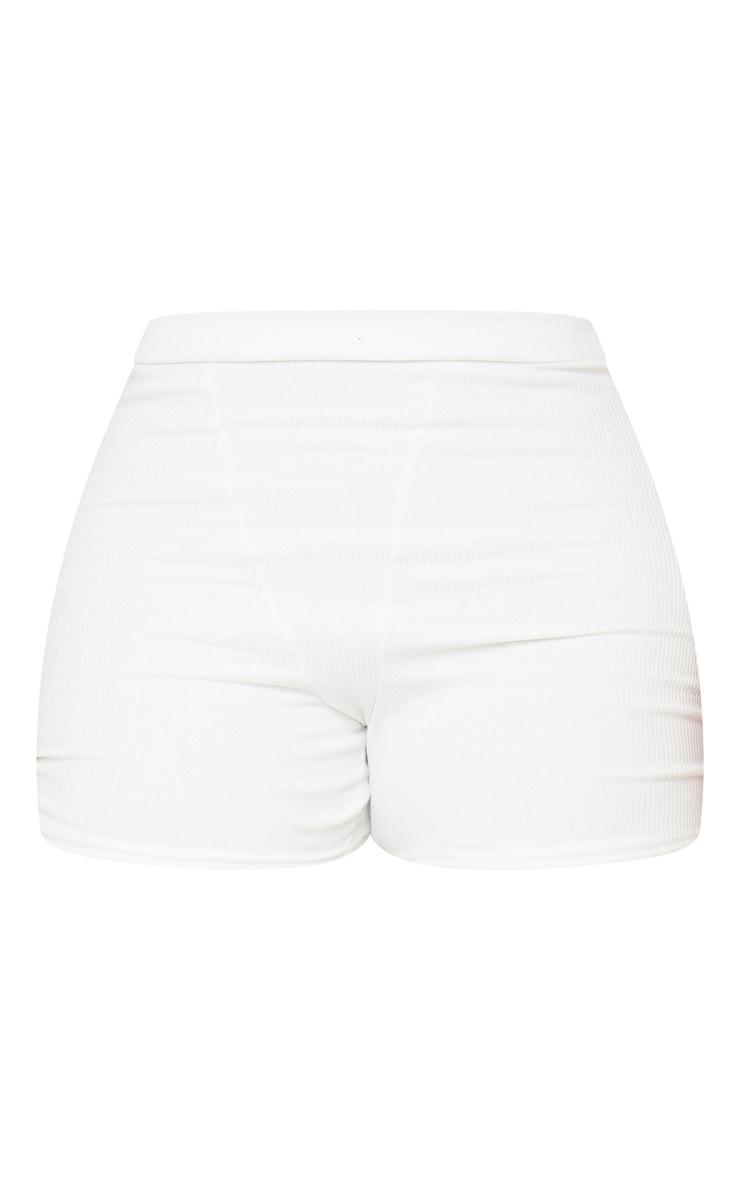 Plus Cream Ribbed Bike Shorts 6