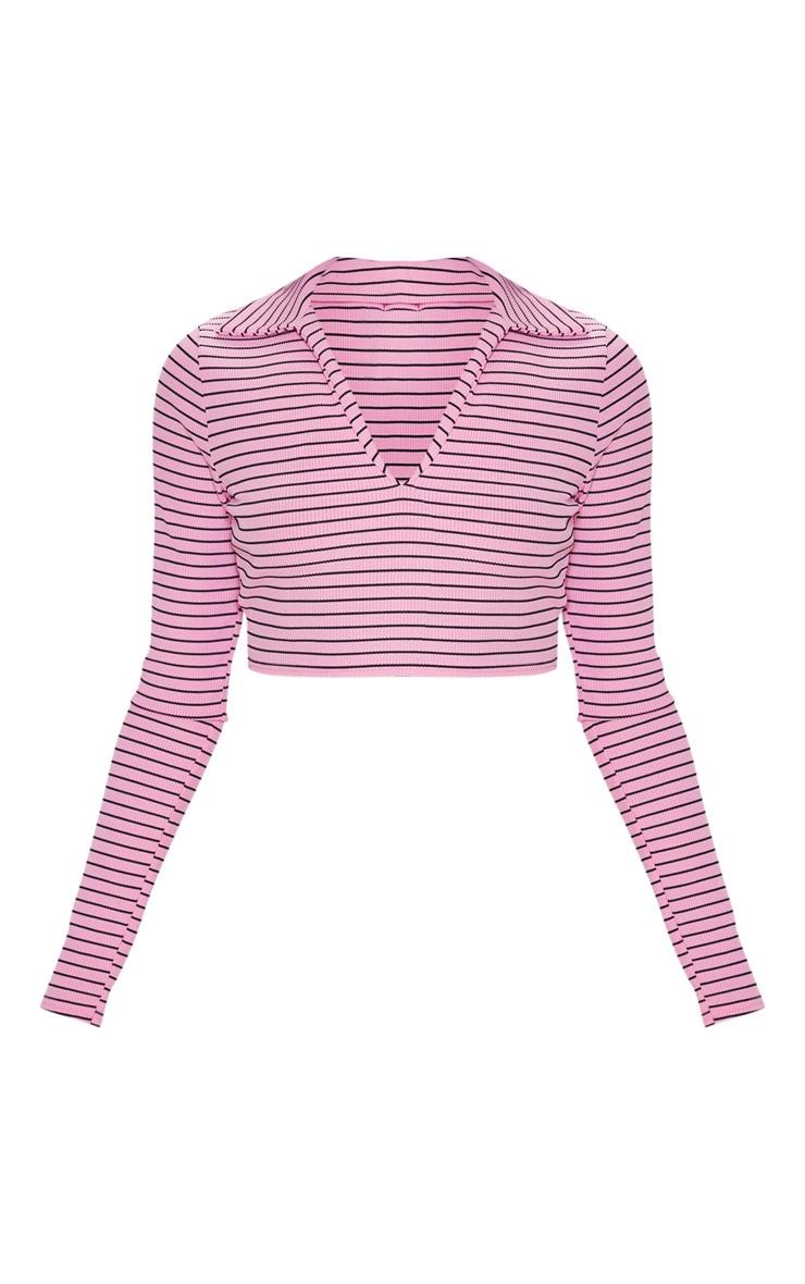 Pink Stripe Rib Collar Crop Top 3