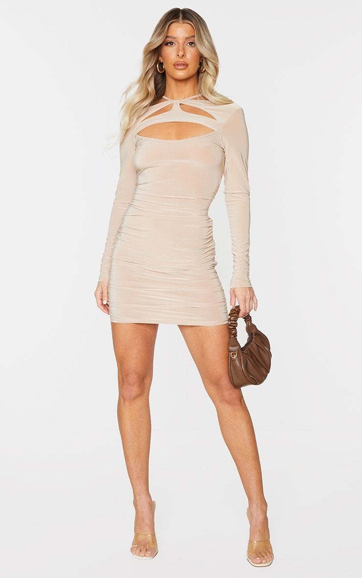 Stone Slinky Chest Cut Out Detail Long Sleeve Bodycon Dress 3