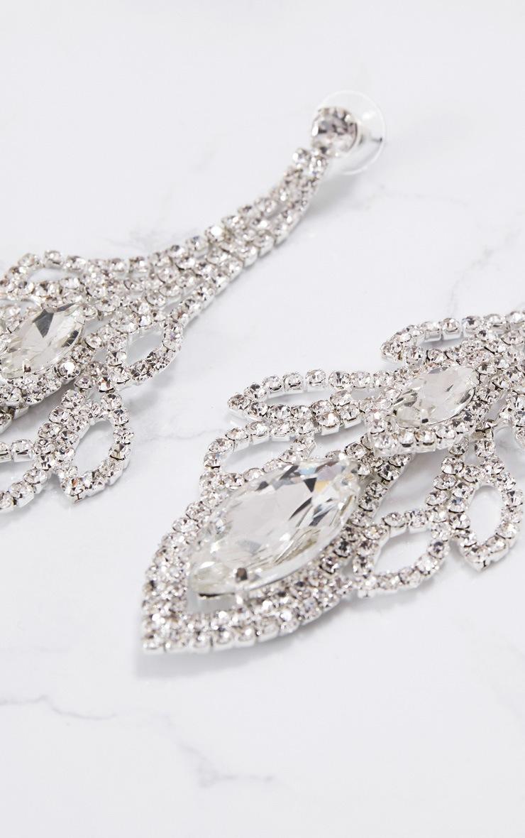 Silver Oval Diamante Drop Earrings 5