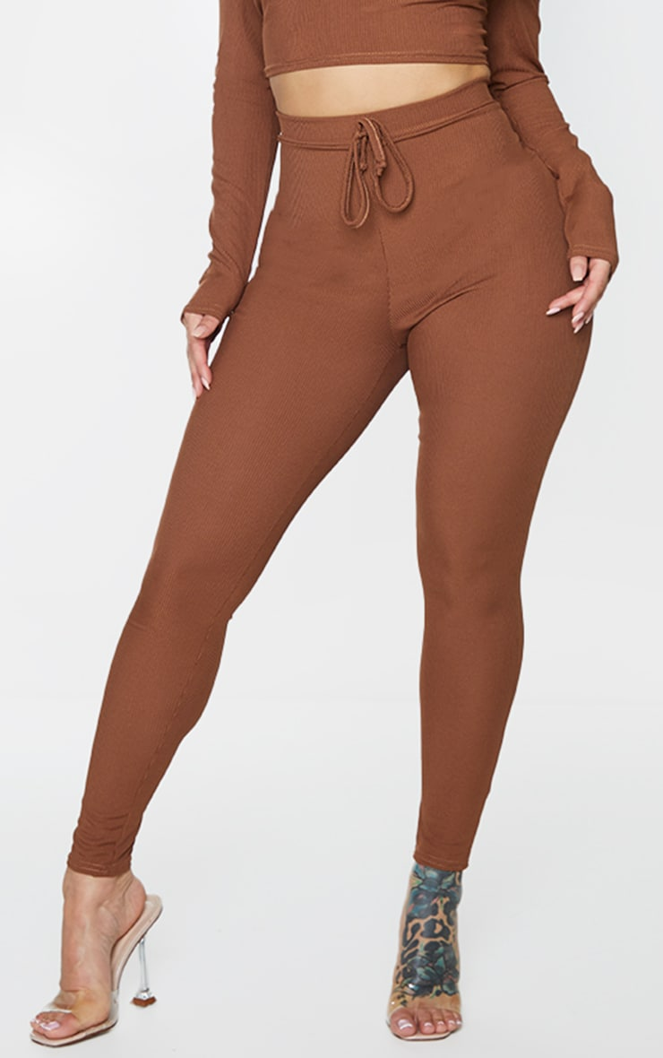 Shape Chocolate Brown Ribbed Detail High Waist Leggings 2