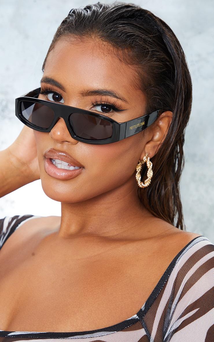 PRETTYLITTLETHING Black Slime Lime Square Frame Sunglasses 1