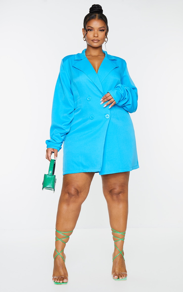 Plus Bright Blue Ruched Sleeve Oversized Blazer Dress 1