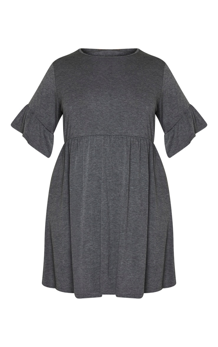 Plus Charcoal Frill Detail Smock Dress 3