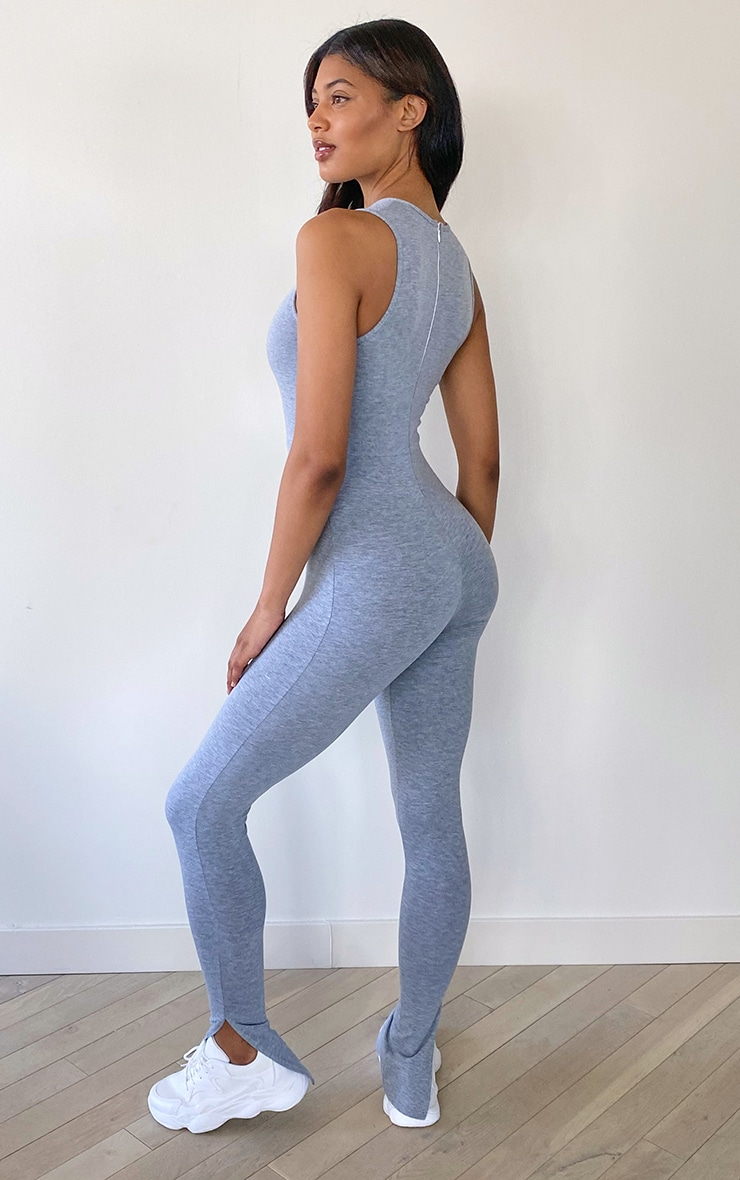 Tall Grey Sleeveless Jersey Split Hem Jumpsuit 2