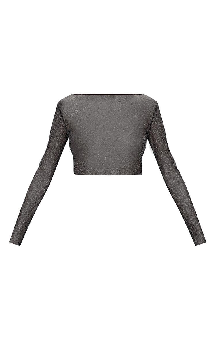 Black Sheer Lurex Long Sleeve Top 3