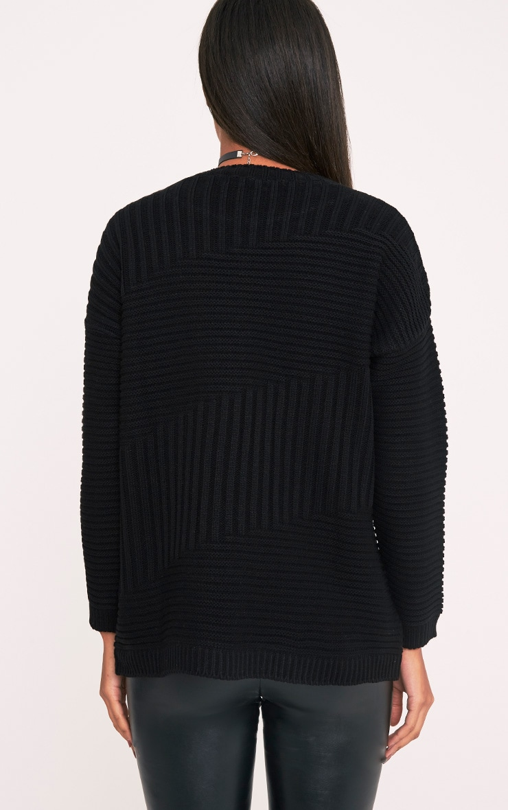 Emersyn Black Two Way Chunky Knit Jumper 2