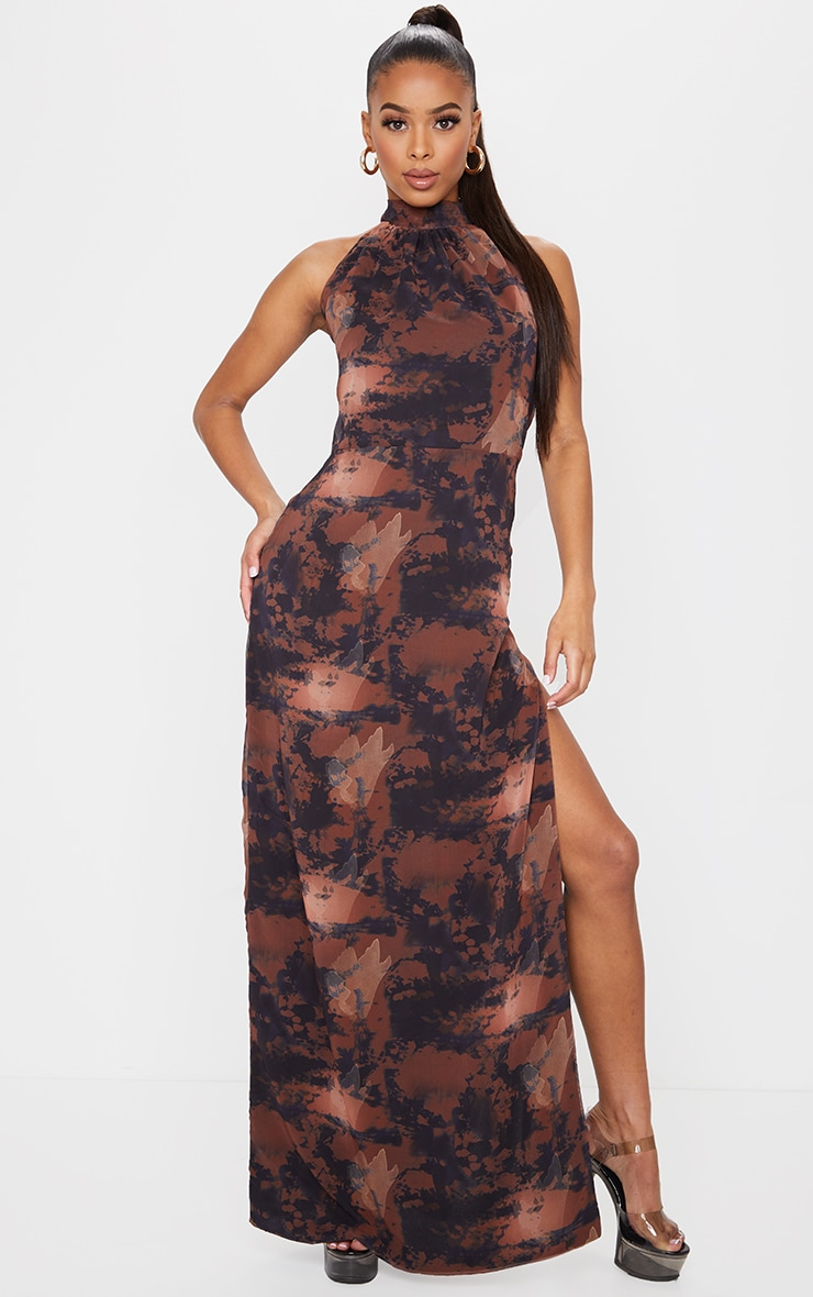 Brown Tie Dye Halterneck Chiffon Maxi Dress 1