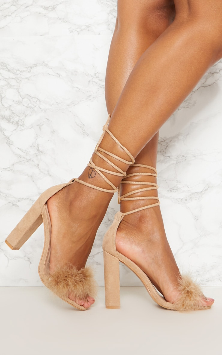 fc3fffe672c Nude Feather Strap Lace Up Block Heel image 1