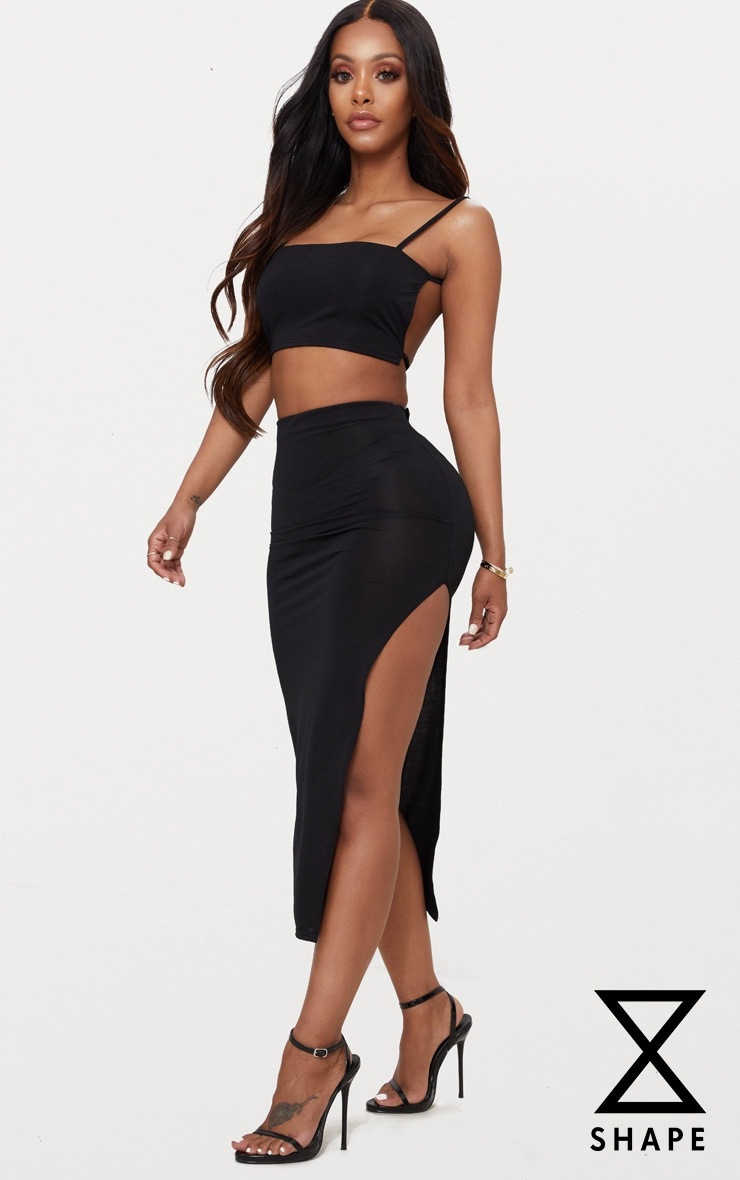 Shape Black Slinky Side Split Midi Skirt