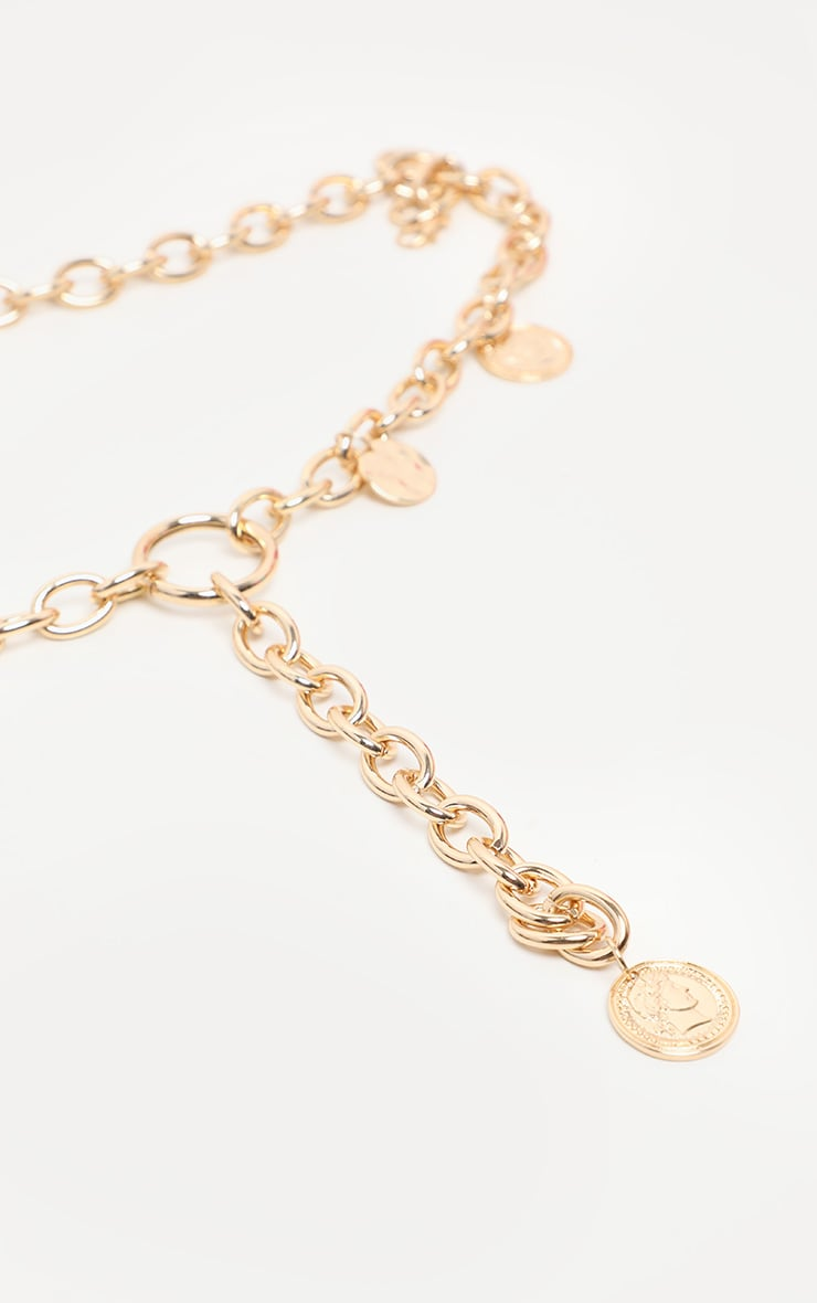 Gold Chain And Disc Lariat Necklace 3