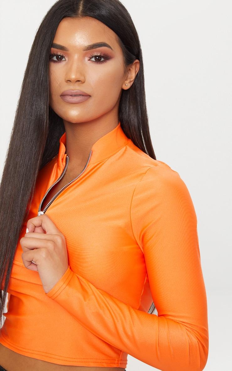 Bright Orange Disco Zip Front High Neck Long Sleeve Crop Top 4
