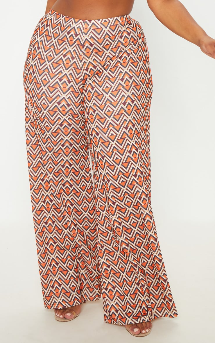 Plus Orange Aztec Print Wide Leg Pants  5