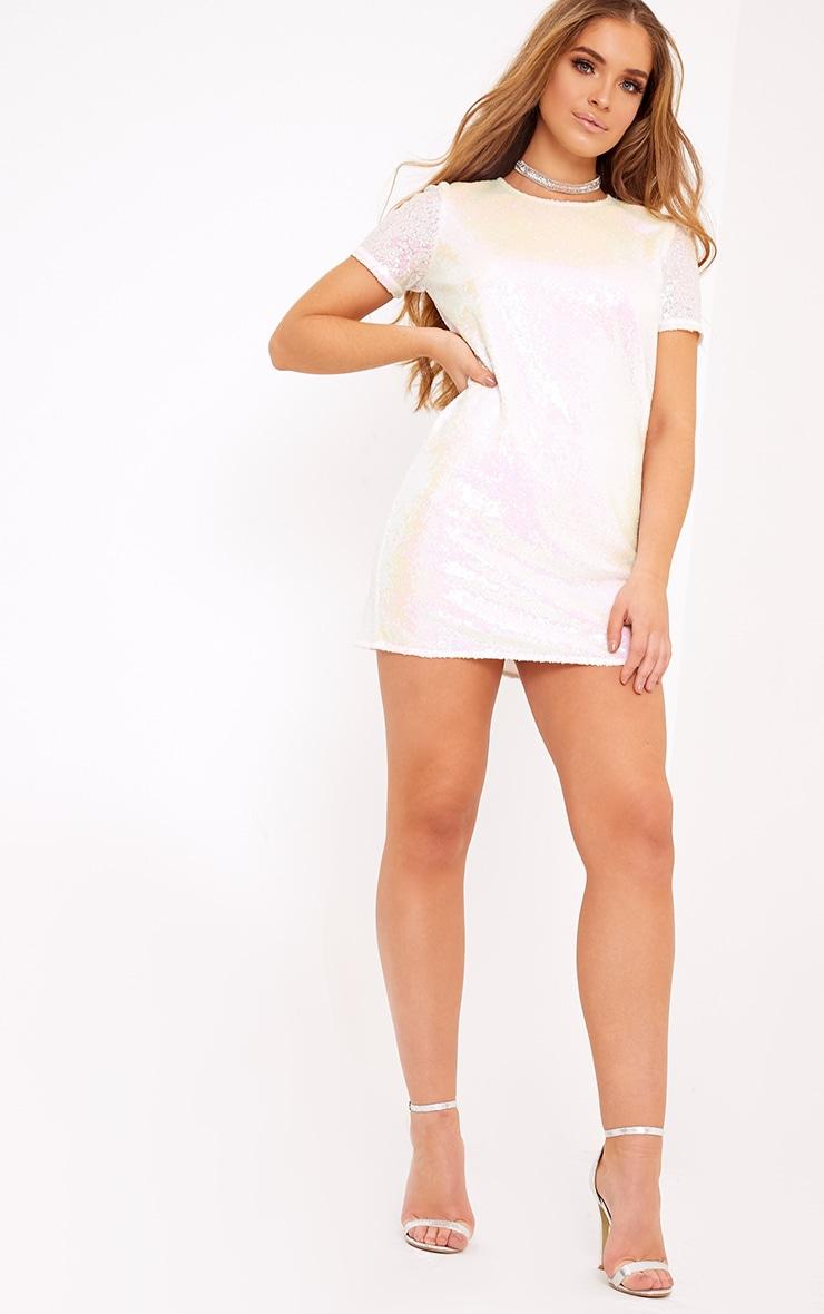 Tanaya White Short Sleeve Sequin T-Shirt Dress 4