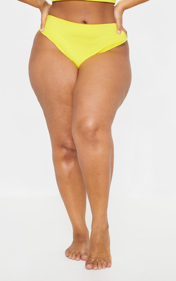 Plus Bright Yellow High Waist Bikini Bottom 2