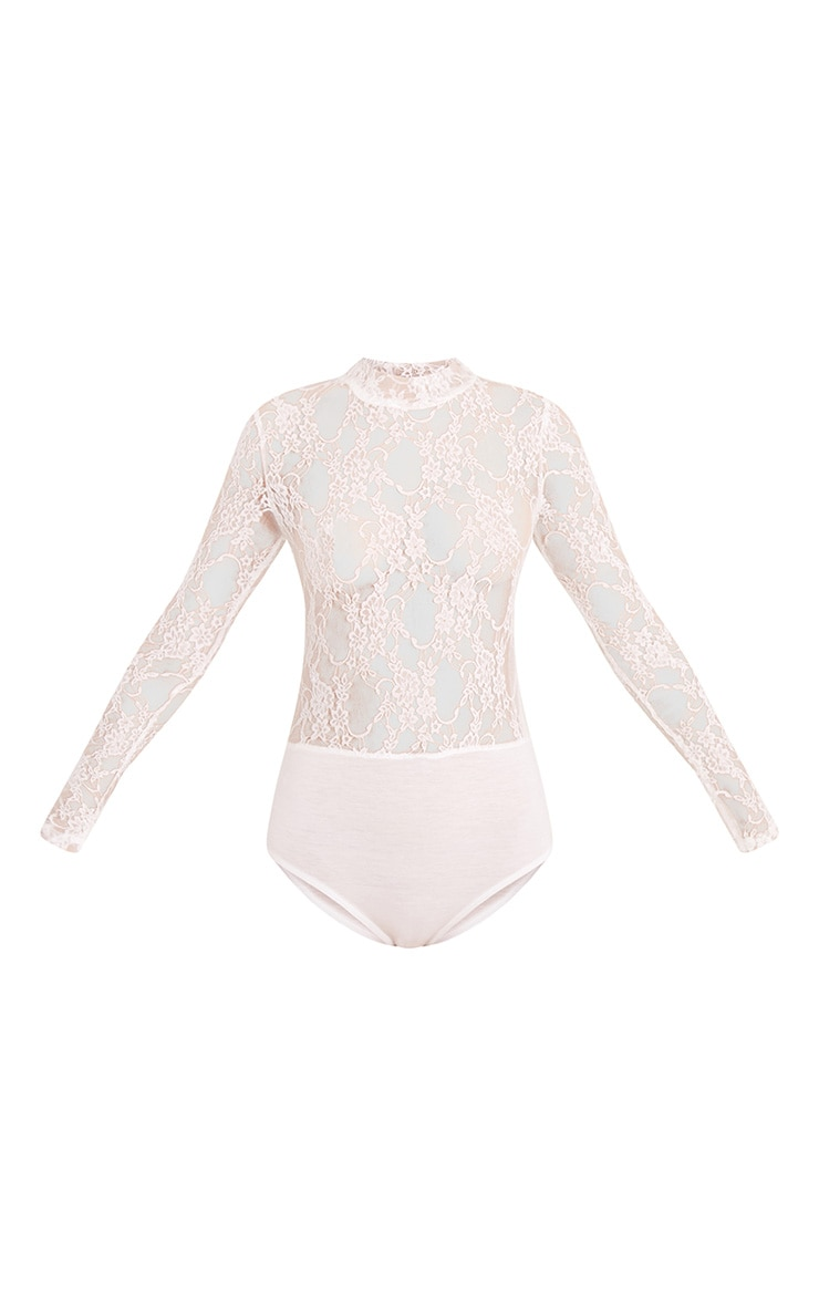 Esmea Cream Lace Longsleeve Thong Bodysuit 3