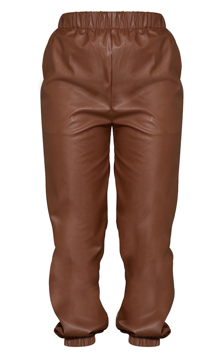 Chocolate Faux Leather Casual Joggers 5