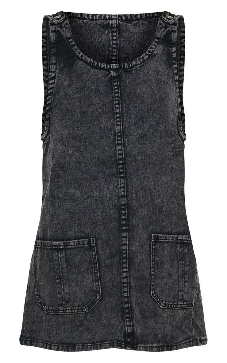 Washed Black Pocket Front Denim Pinafore Dress 3