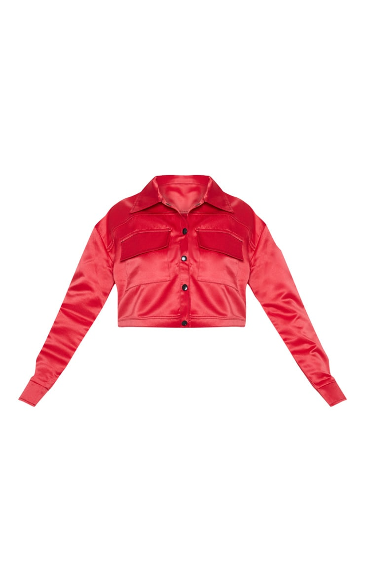Red Contrast Stitch Military Crop Jacket 3