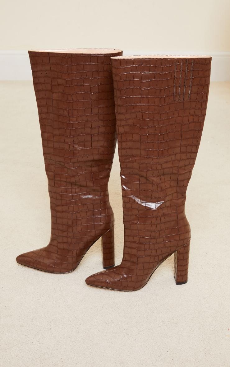 Chocolate Knee High Point Block Heel Boots 3