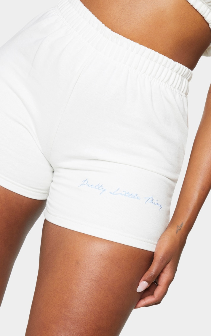 PRETTYLITTLETHING Shape Cream Embroidered Sweat Shorts 5