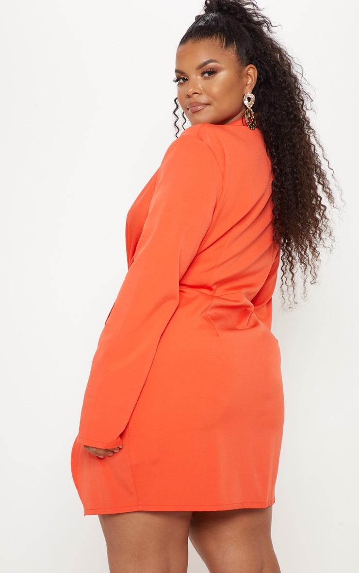 Plus Bright Orange Twist Front Shirt Dress 2