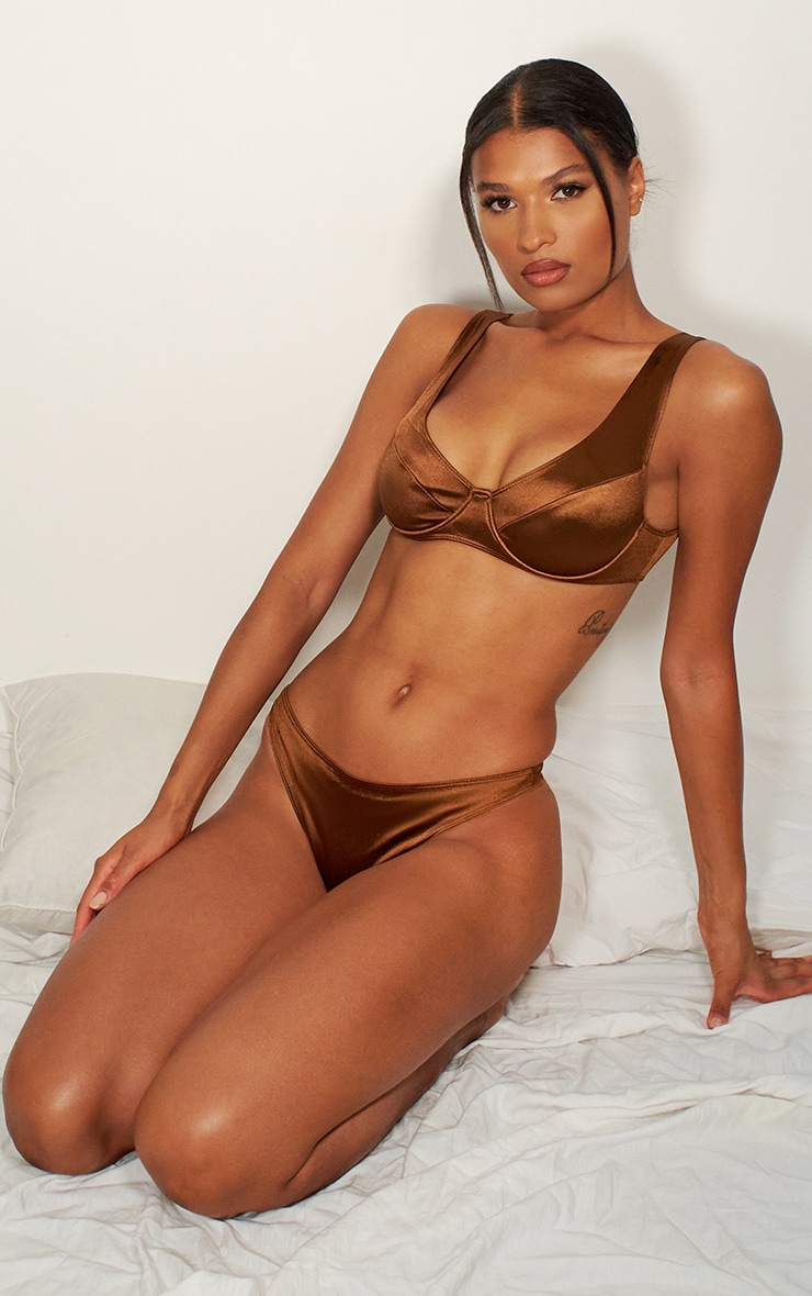 Chocolate Satin Underwired Panelled Bra 3