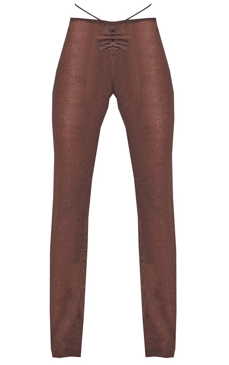 Chocolate Tie Waist Detail Sheer Knit Flare Pants 8