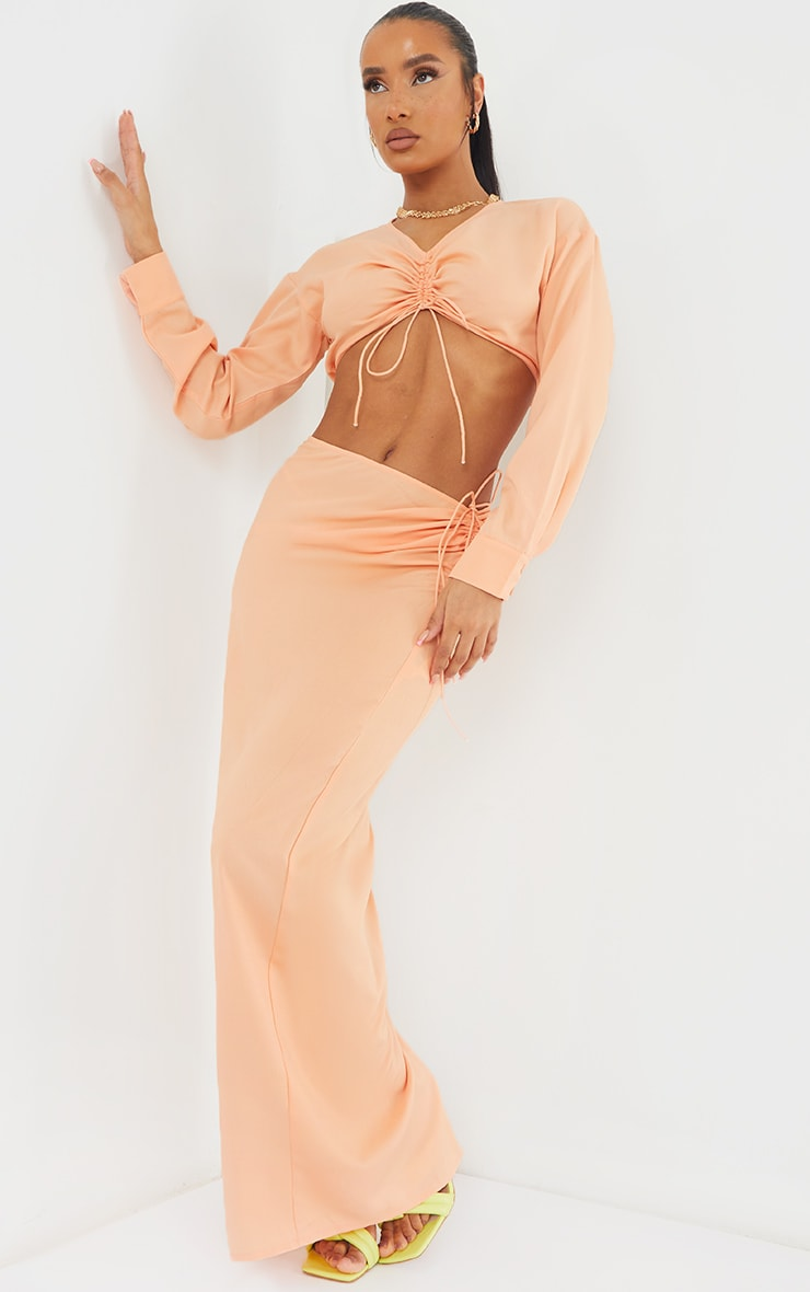 Peach Woven Ruched Tie Front Maxi Skirt