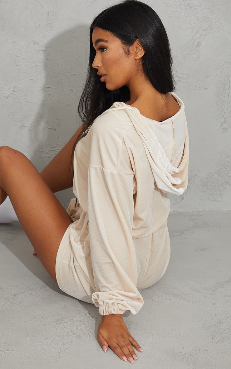 Cream Velour Seam Detail Hooded Romper 2