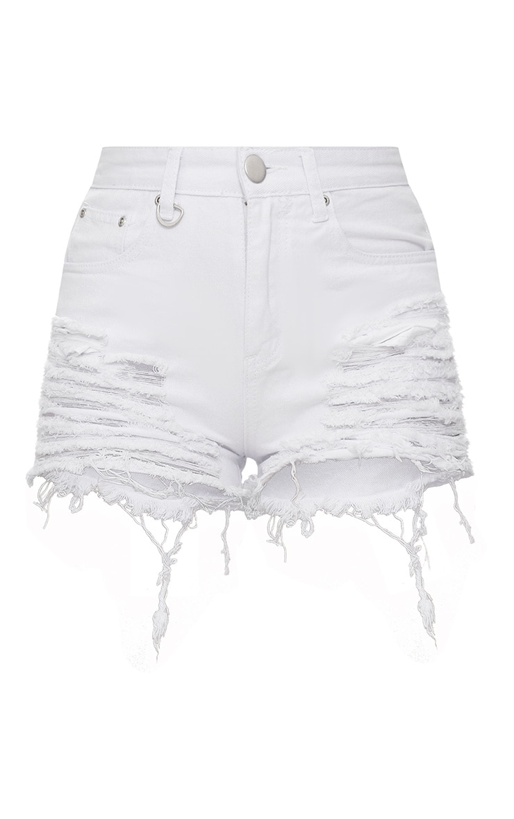 Jeanie White Extreme Ripped Mom Denim Shorts 3