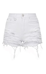 b9362e0bf Jeanie White Extreme Ripped Mom Denim Shorts - Denim ...