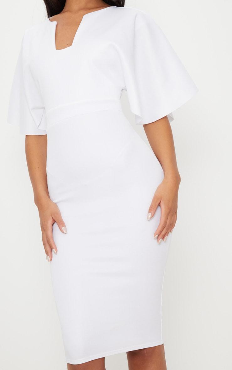 White Plunge Sleeve Midi Dress 5