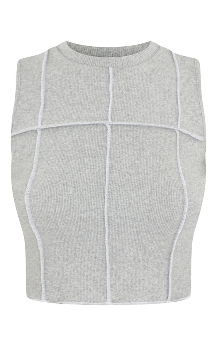Petite Grey Seam Detail Sleeveless Ribbed Top 5