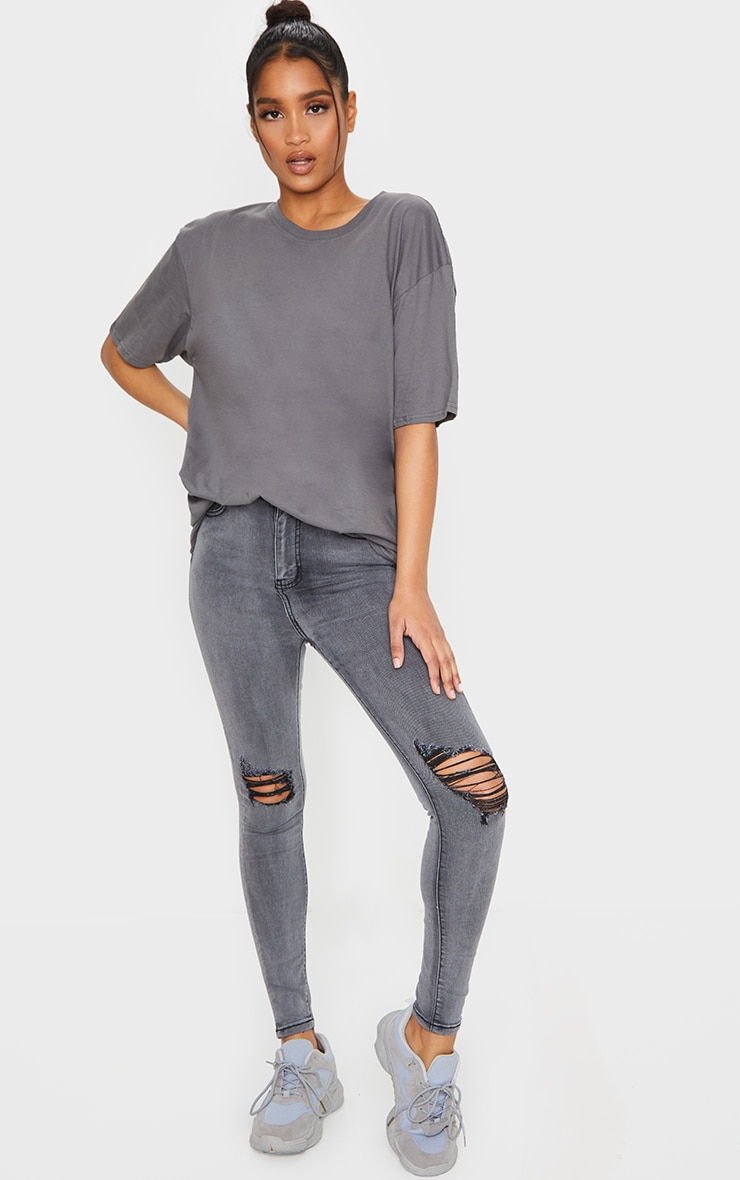 PRETTYLITTLETHING Grey 5 Pocket Knee Rip Skinny Jeans 1