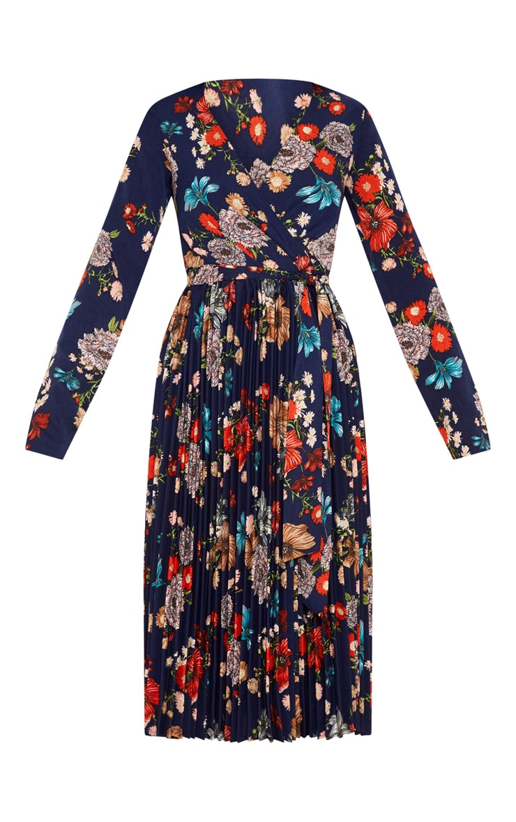 Navy Floral Long Sleeve Pleated Midi Dress 3