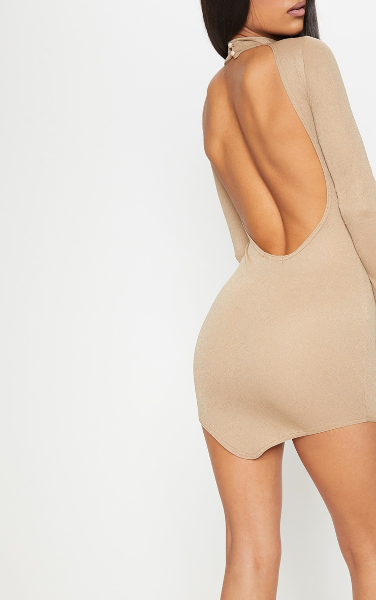 Taupe High Neck Extreme Scoop Back Pointy Hem Bodycon Dress 5