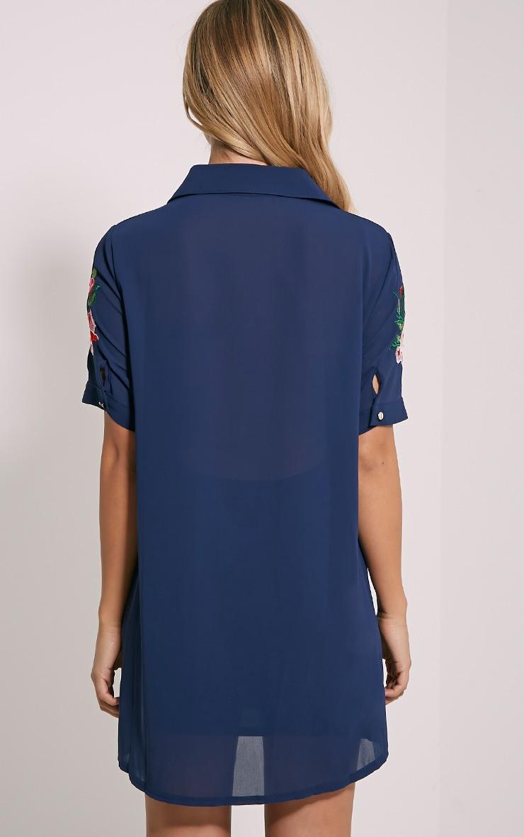 Knox Navy Embroidered Sheer Shirt Dress 2