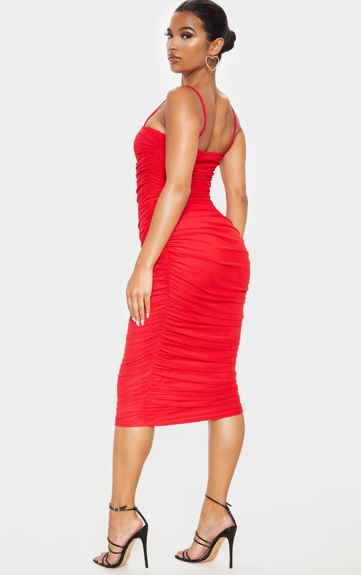Red Strappy Mesh Ruched Midaxi Dress 2