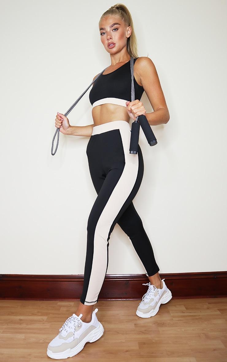 PRETTYLITTLETHING Black Sport High Waist Cropped Gym Leggings 1