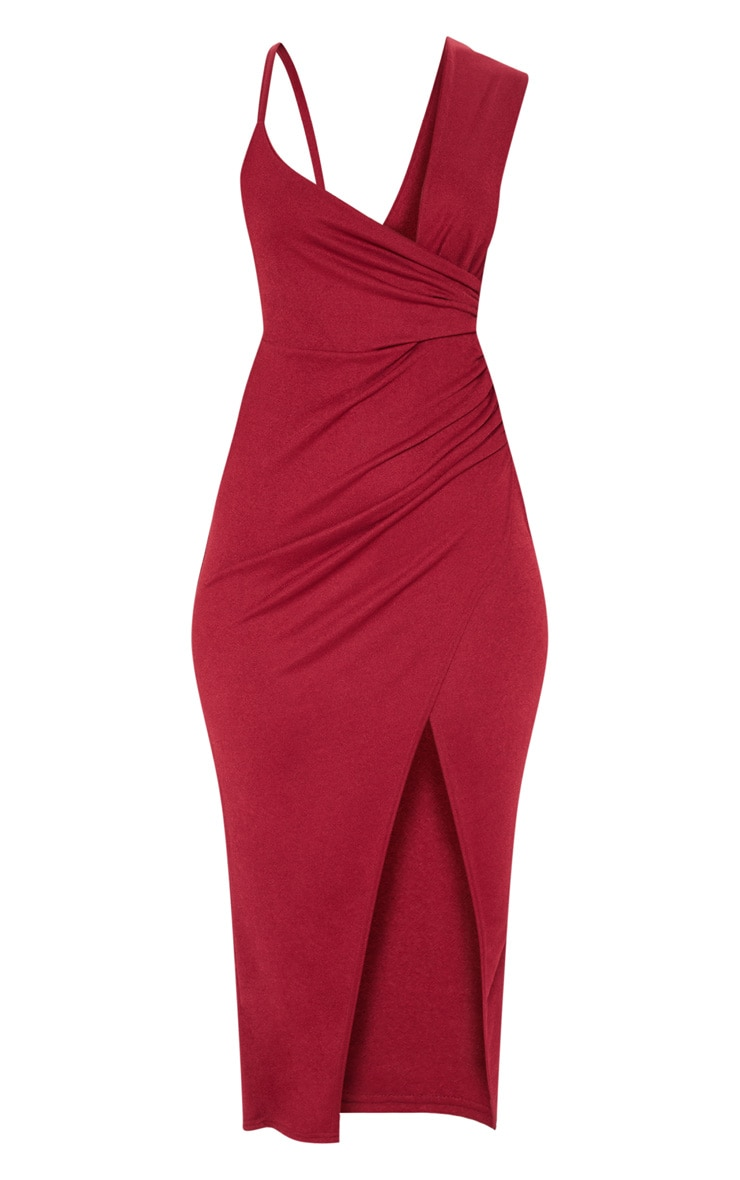 Burgundy Asymmetric Sleeve Ruched Midi Dress 3