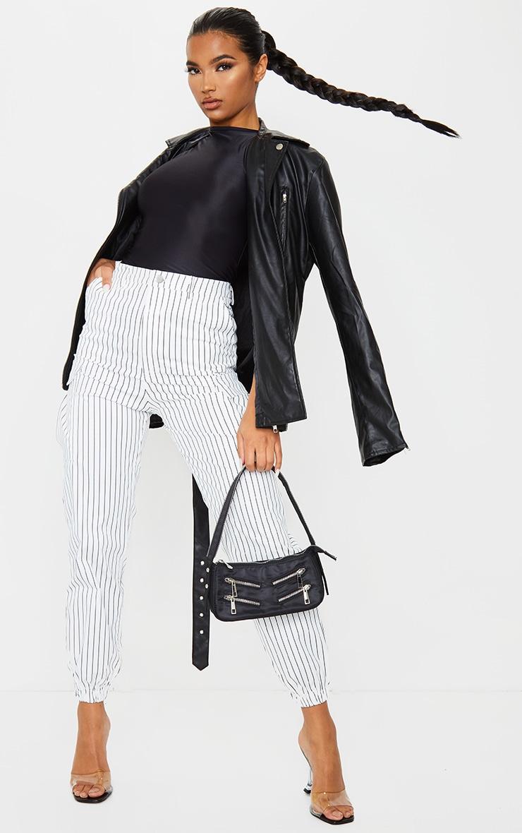 White Pinstripe Pocket Detail Cargo Pants 1