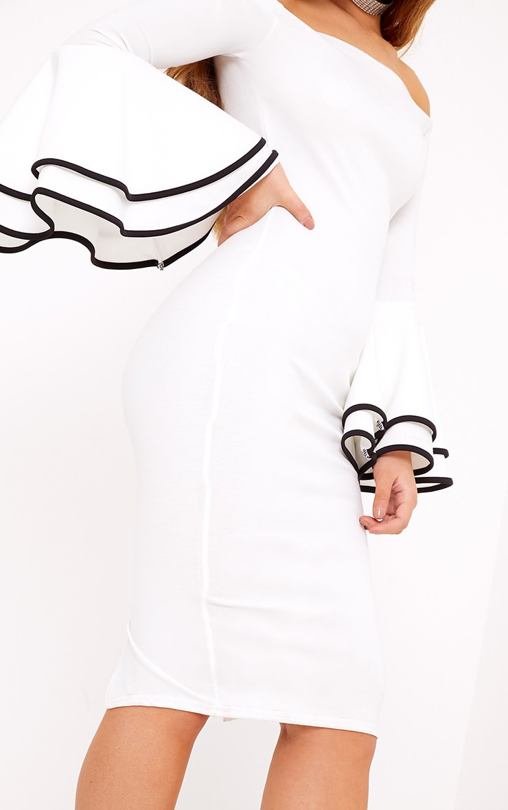 Amandine White Piping Detail Flared Cuff Midi Dress 5
