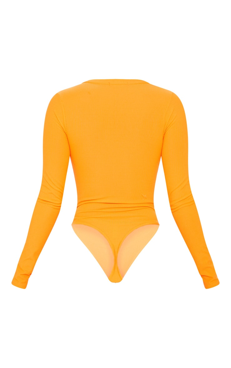 Neon Orange Long Sleeve Button Detail Bodysuit 4